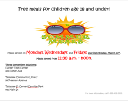 Free meals for children age 18 and under!