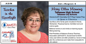 Mary Ellen Manning recognized by AMSTI