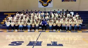 The Class of 2021 poses with Principal Coach Stewart on Friday, December 4, 2020.
