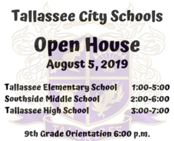 2019 Open House Schedule