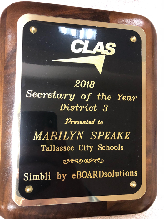 Secretary of the Year Marilyn Speake